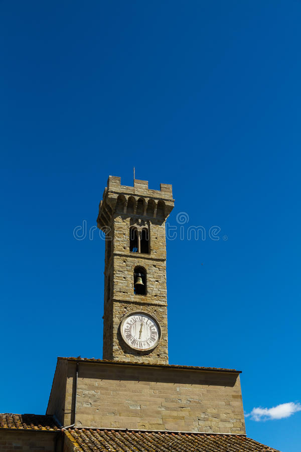 Stary Włoski zegarowy wierza, Fiesole, Włochy obrazy stock