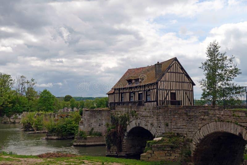 Stary watermill w Vernon, Francja obraz stock