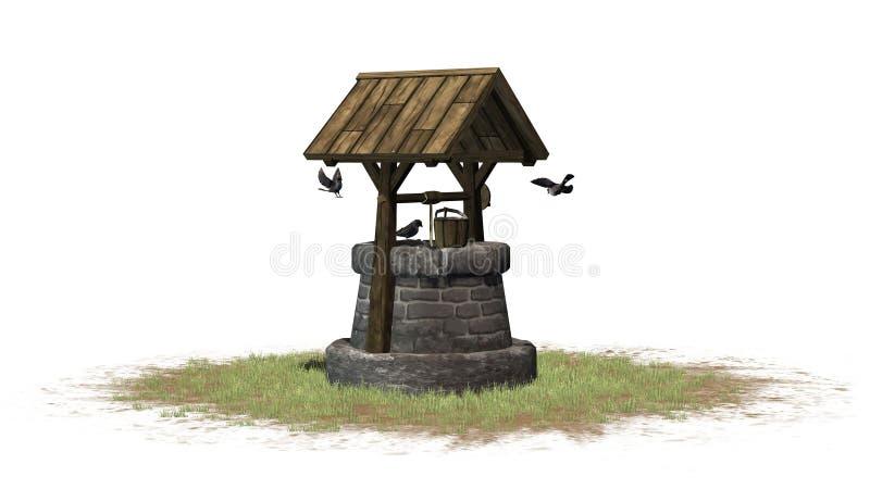 Stary well i ptaki - na białym tle royalty ilustracja