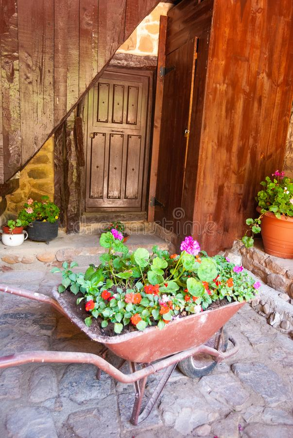 Stary wheelbarrow plantator przed starym drewnianym drzwi fotografia royalty free