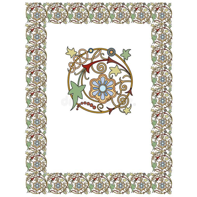 Stary ?wiat Graniczy wektor i kwitnie struktura Dekoracyjnego Eleganckiego styl - Kafelkowa rama w ro?lina li?ciach royalty ilustracja