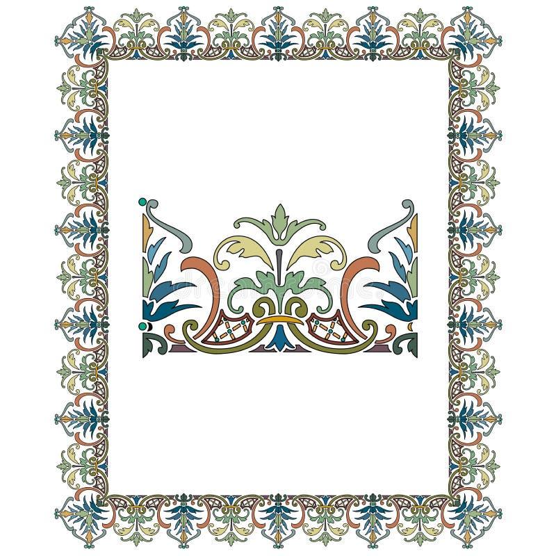 Stary ?wiat Graniczy wektor i kwitnie struktura Dekoracyjnego Eleganckiego styl - Kafelkowa rama w ro?lina li?ciach ilustracja wektor