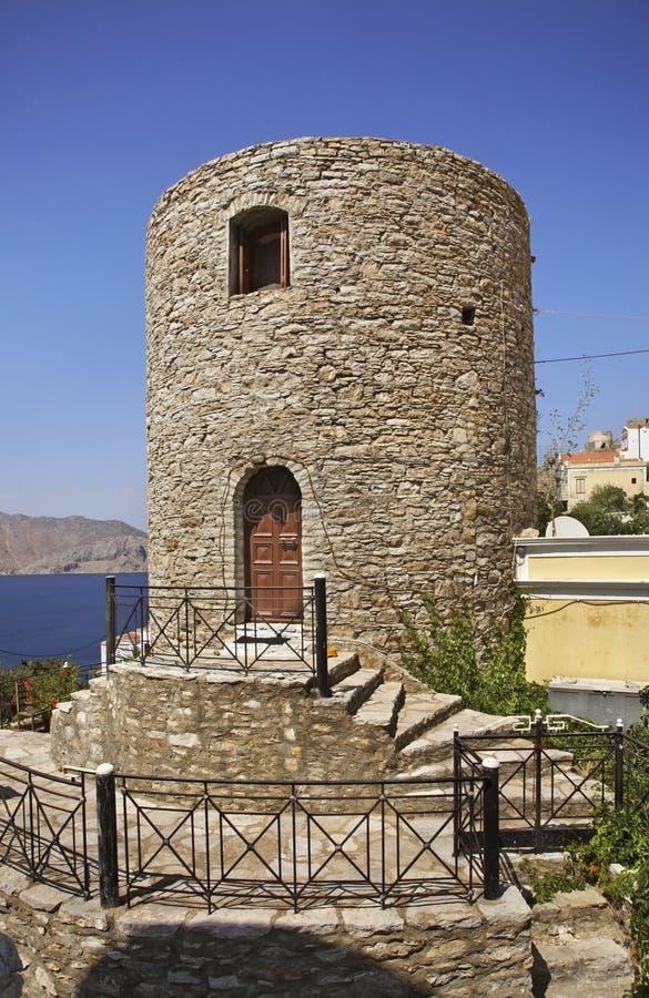 Stary wierza w Ano Symi Grecja fotografia stock