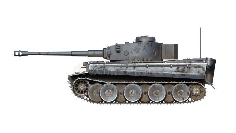 Stary wojsko zbiornik, rocznika opancerzony pojazd wojskowy z pistoletem i wieżyczka odizolowywająca na białym tle, boczny widok, ilustracja wektor