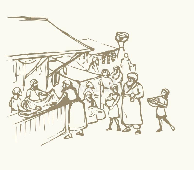 Stary wschodni rynek rysuje tła trawy kwiecistego wektora ilustracja wektor