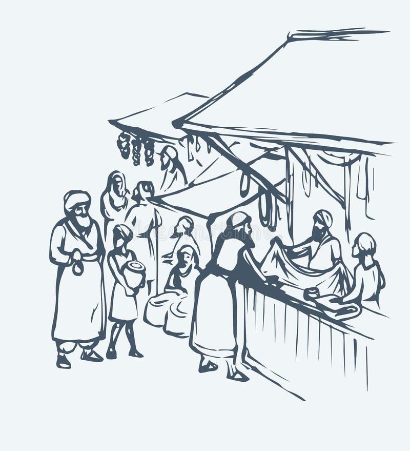 Stary wschodni rynek rysuje t?a trawy kwiecistego wektora royalty ilustracja