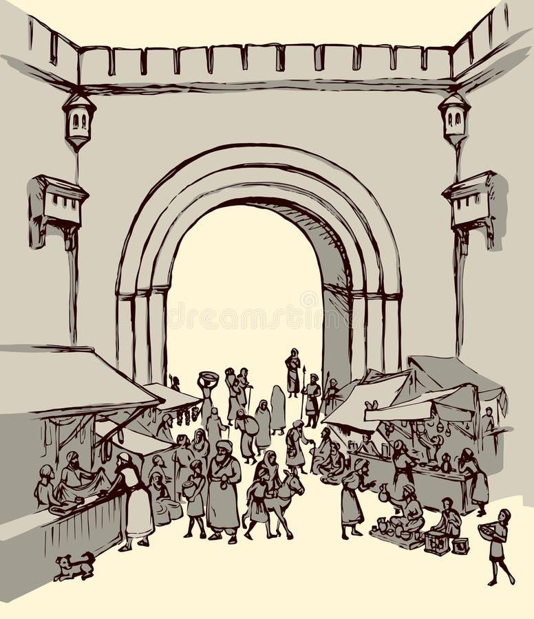 Stary wschodnie miasto rysuje t?a trawy kwiecistego wektora royalty ilustracja