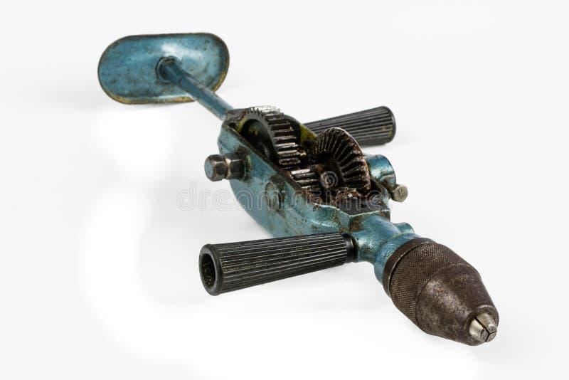 Stary wyga świder dla musztrować dziury w drewnie i metalu Carpentr zdjęcie stock