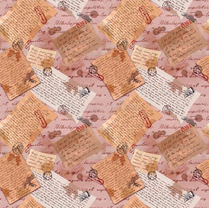 Stary wyga pisa? listy przy rocznikiem tapetuj? tekstur?, pocztowi znaczki deseniowy target101_0_ ilustracja wektor