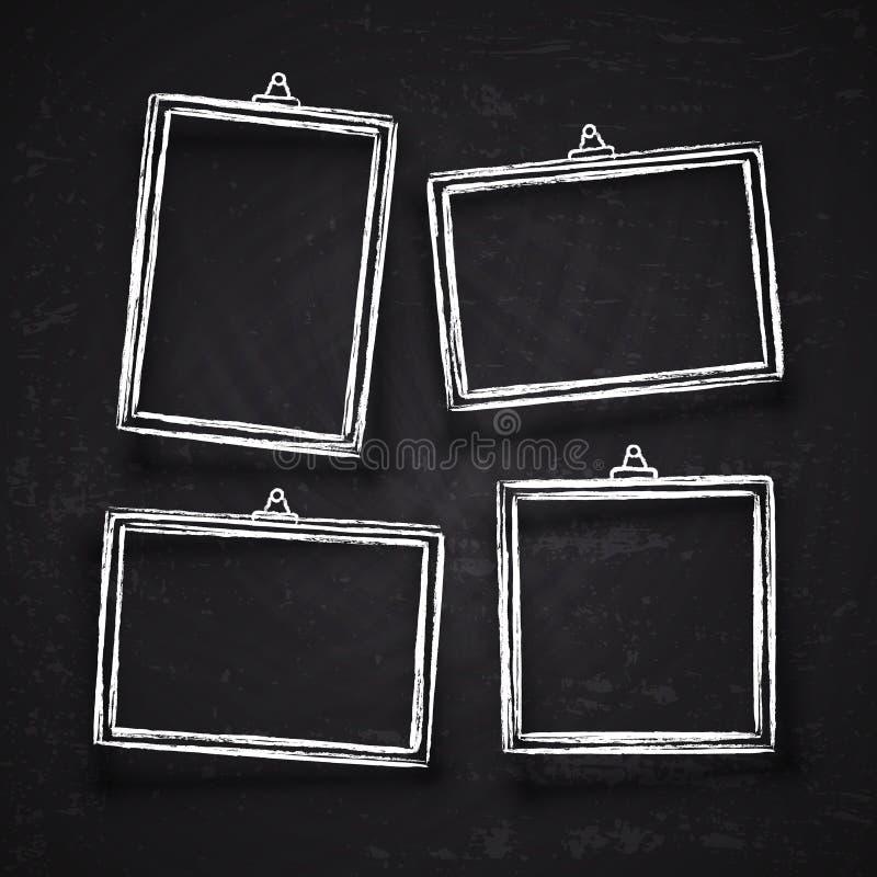 Stary wyga rysować kredowe fotografii ramy, biały rocznika wizerunek graniczą z cieniami odizolowywającymi na blackboard wektoru  royalty ilustracja