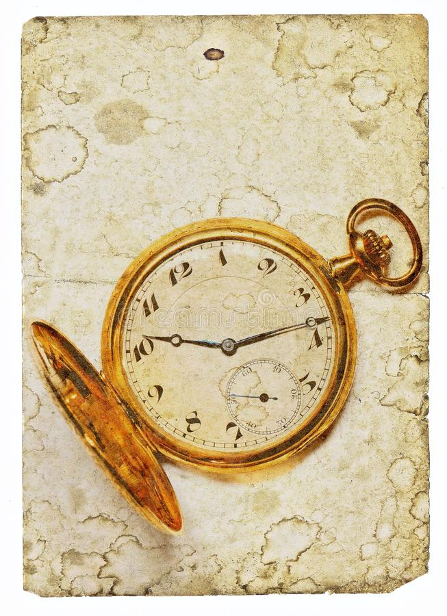 Stary złoty zegarek royalty ilustracja