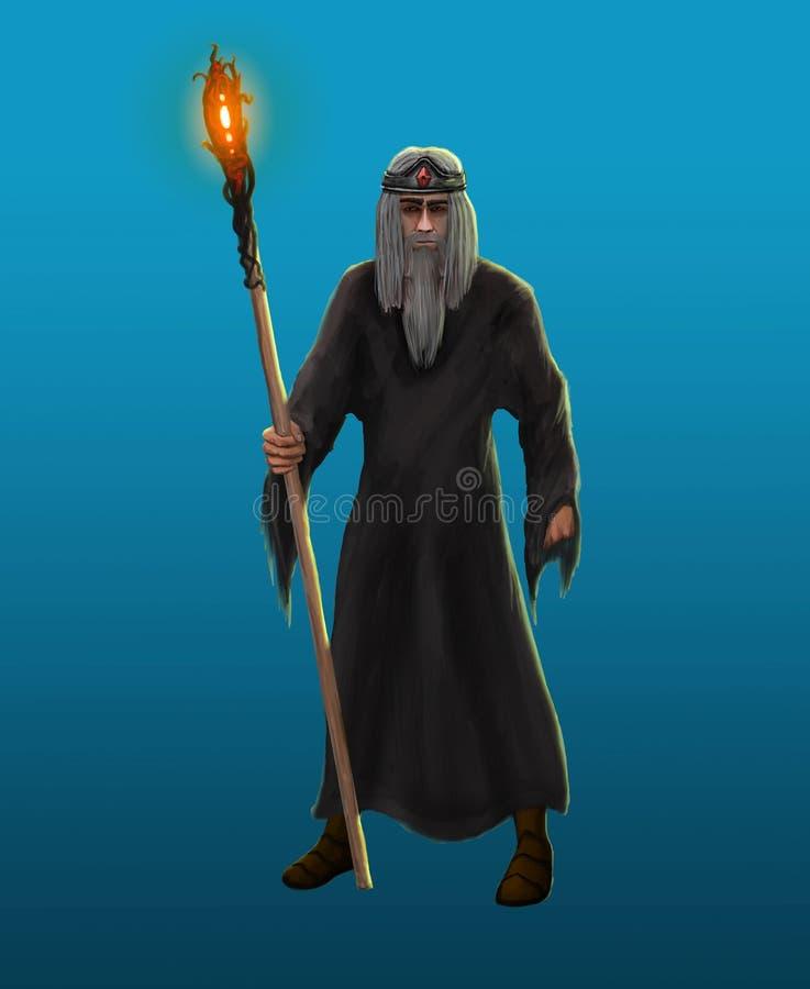 Stary z włosami czarnoksiężnik ilustracji