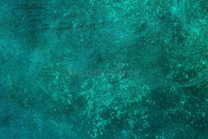 Stary zakłopotany błękitny turkus rdzewiał mosiężnego tło z szorstką teksturą Pobrudzony, gradientowy, beton obrazy stock