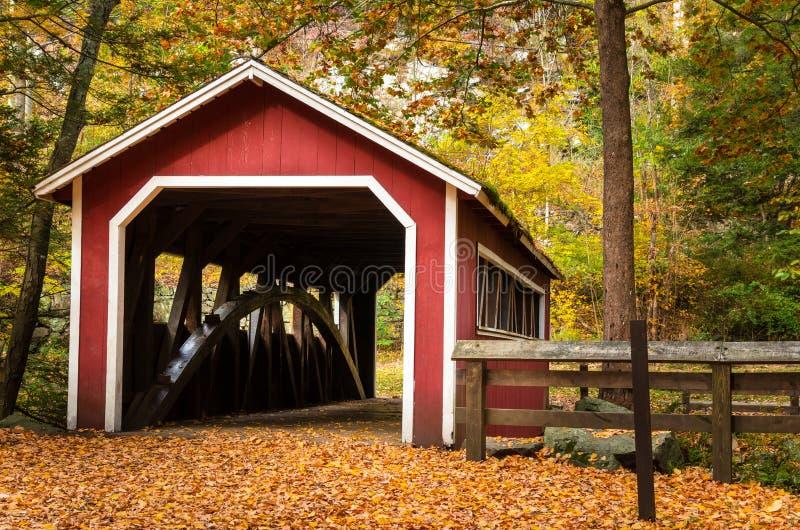 Stary Zakrywający most w lesie w spadku zdjęcie stock