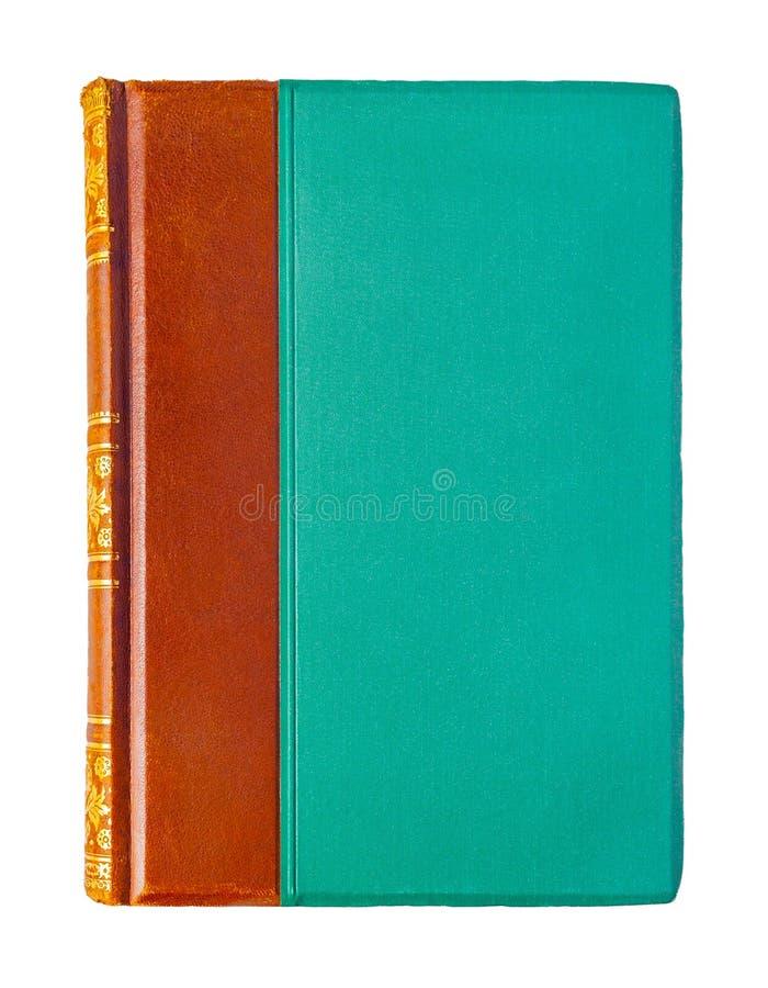 Stary zamknięty brąz - zielona książka odizolowywająca na białym tle obraz stock