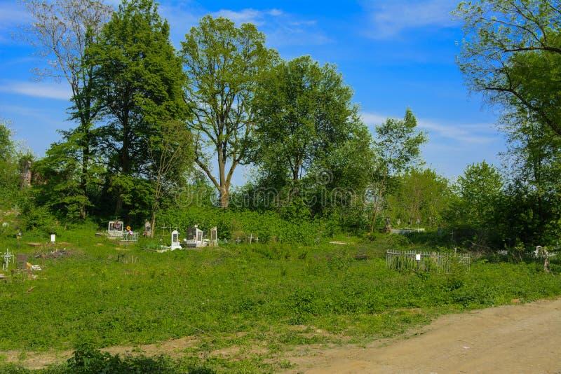 Stary zaniechany cmentarz, krzyże i grób przerastający z tal, zdjęcie royalty free