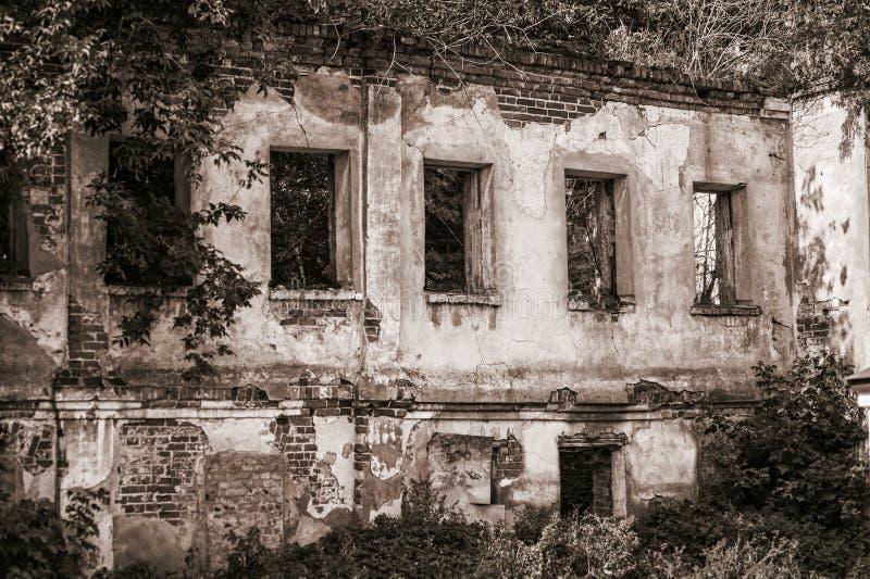 Stary zaniechany opróżnia dom w lesie obraz royalty free