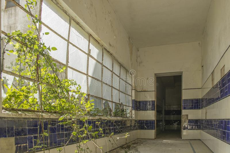 Stary zaniechany sanatorium na Portugalia obraz stock