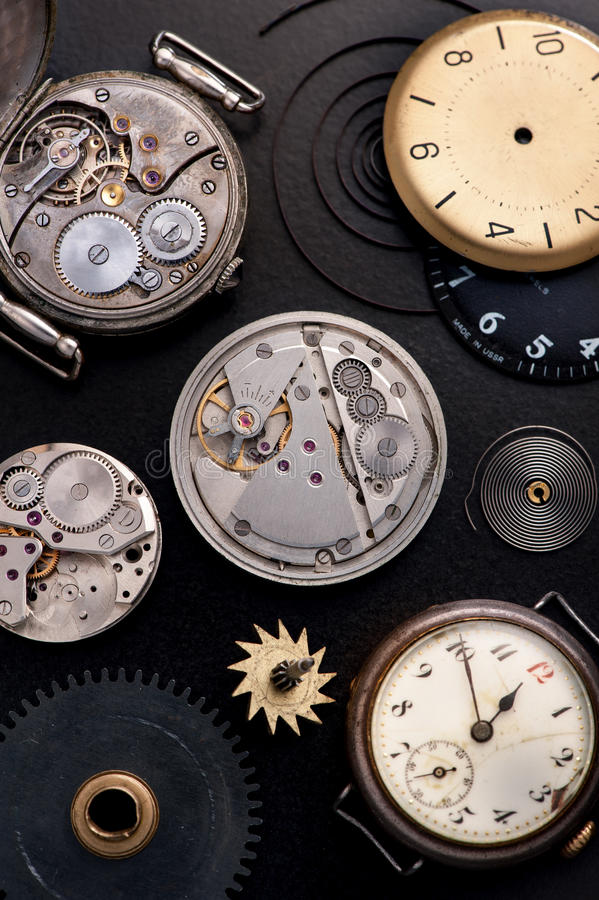 stary zegar Odgórny widok fotografia stock
