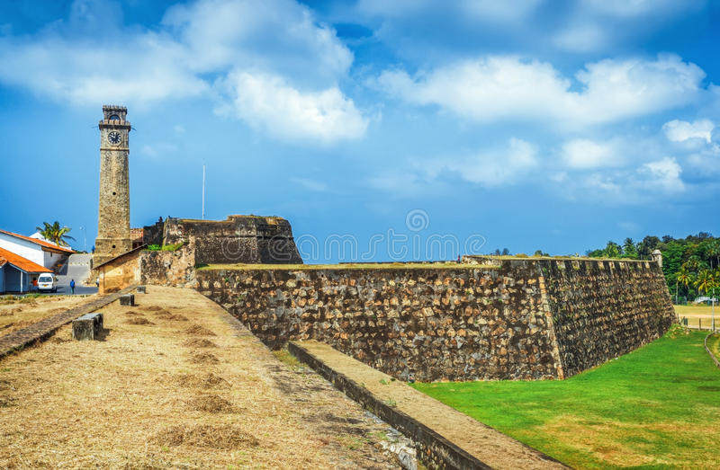 Stary Zegarowy wierza Przy Galle Holenderskim fortem 17th Centurys Rujnował holendera kasztel Który Jest Unesco Spisującym Jako ś fotografia royalty free