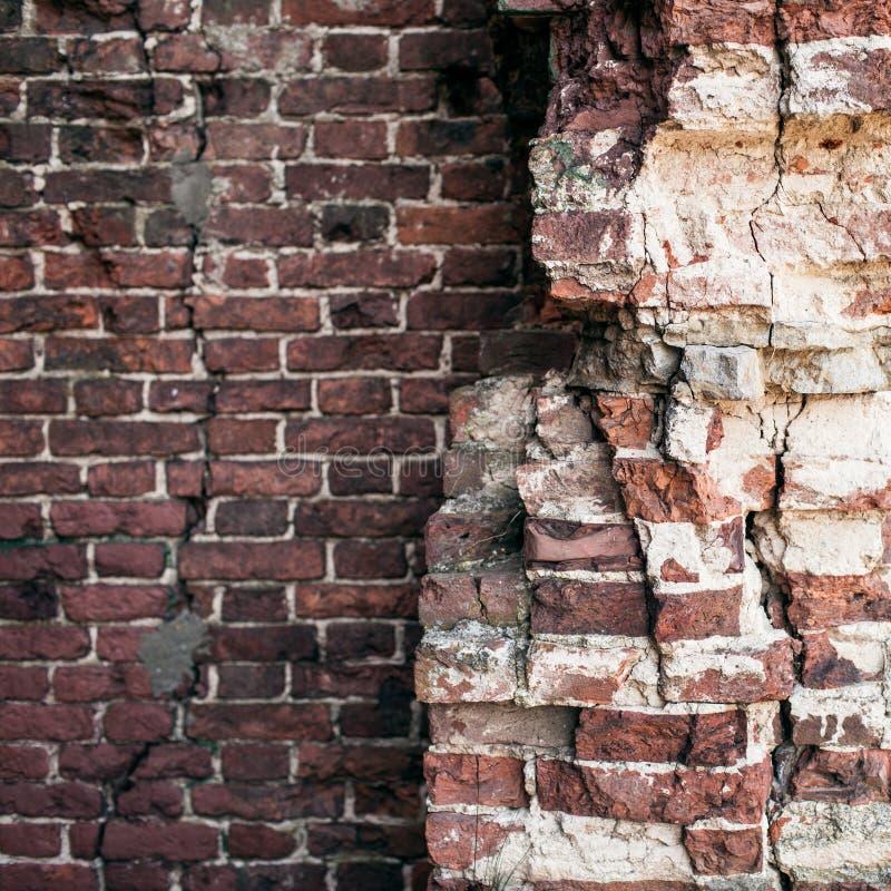 Starych ściana z cegieł zamknięty up obraz royalty free