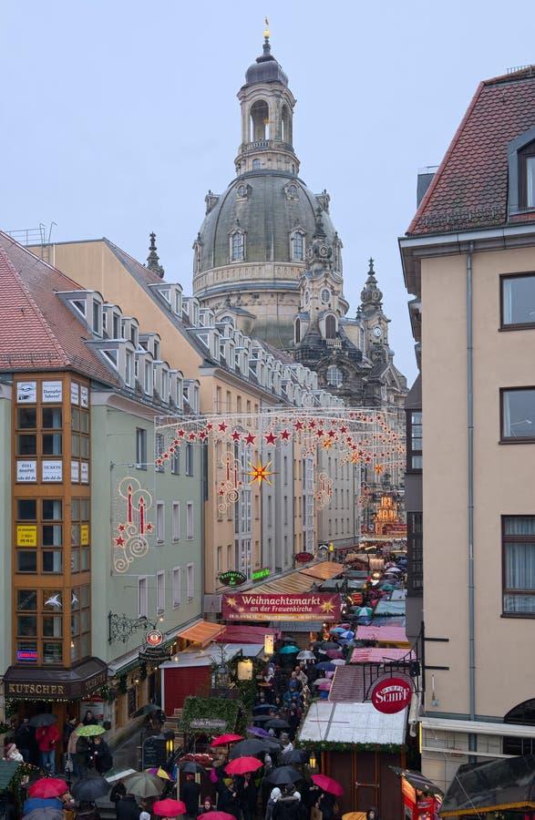 Starych Germany bożych narodzeń targowa ulica fotografia stock