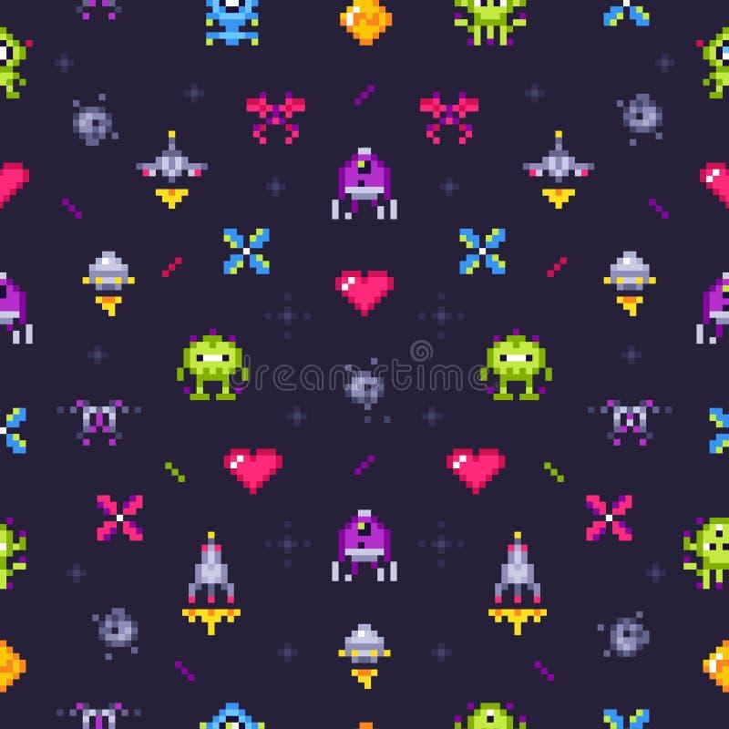 Starych gier bezszwowy wzór Retro hazard, piksle gra wideo i piksel sztuki arkady tła wektorowa ilustracja, ilustracji