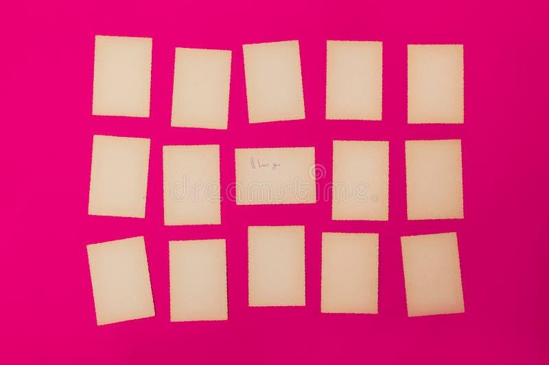 Starych rocznika papieru setu menchii czerwony udział karciana krawędź gofrujący fotografii ramy tła pisma przypomnienia deski li fotografia stock