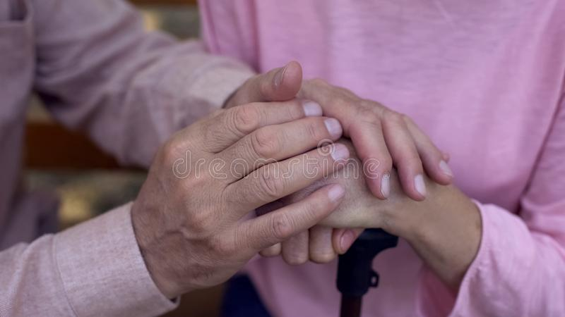 Starzeć się męskie nakrywkowe kobiet ręki, karmiąca domowa opieka, rodzinny poparcie, pomoc obrazy royalty free
