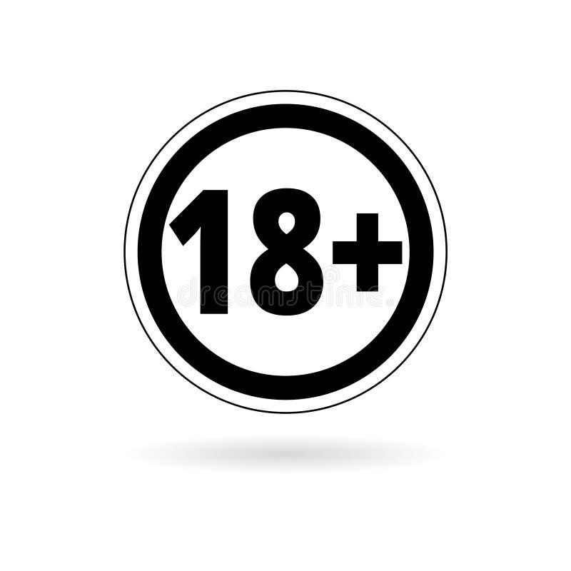 18+ starzeją się ograniczenie znaka, wektoru osiemnaście ikona ilustracji