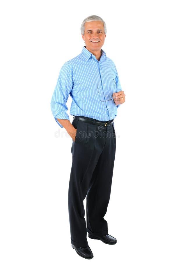starzejąca się biznesmena szkieł ręki środka kieszeń zdjęcie stock