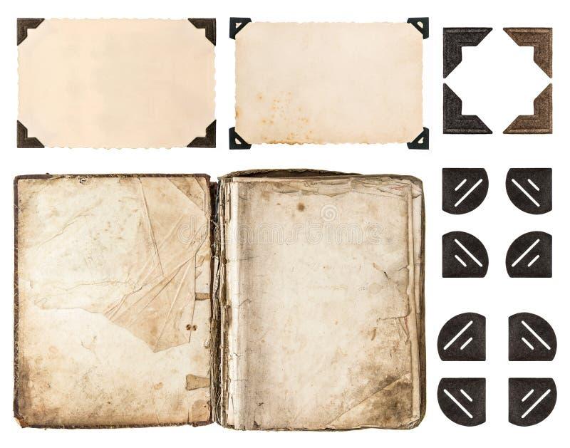 Starzejąca się książka, album fotograficzny, rocznik papierowa karta, fotografia kąt ilustracja wektor