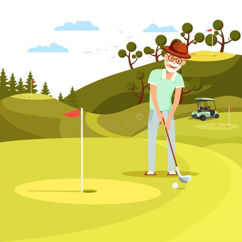 Starzejąca się Skoncentrowanego mężczyzny Mknąca piłka golfowa dziura royalty ilustracja