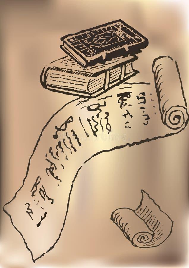 starzejący się stary papier ciąć na arkusze rocznika ilustracja wektor