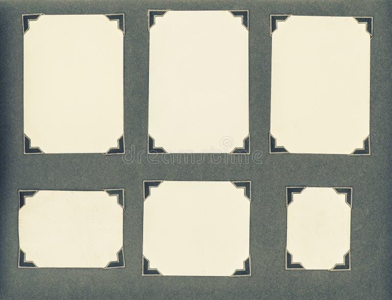 Starzy album fotograficzny strony kart ramy kąty zdjęcia stock