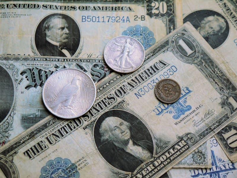 Starzy Amerykańscy banknoty i monety fotografia royalty free