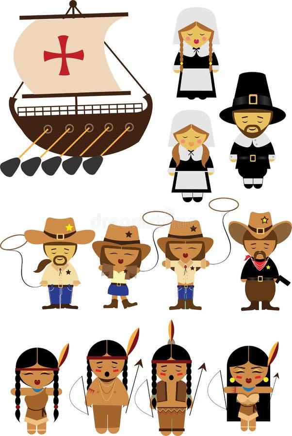 Starzy Ameryka kowboje, cowgirls i hindusi royalty ilustracja