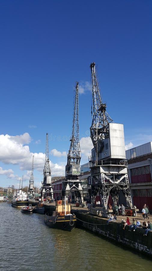 Starzy Bristol doki, żurawie i zdjęcia royalty free