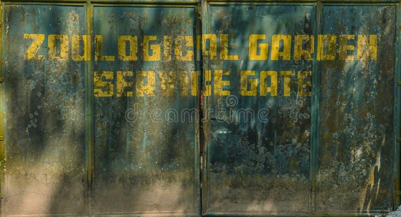 Starzy brudni ośniedziali zieleni metali drzwi z inskrypcją obrazy stock