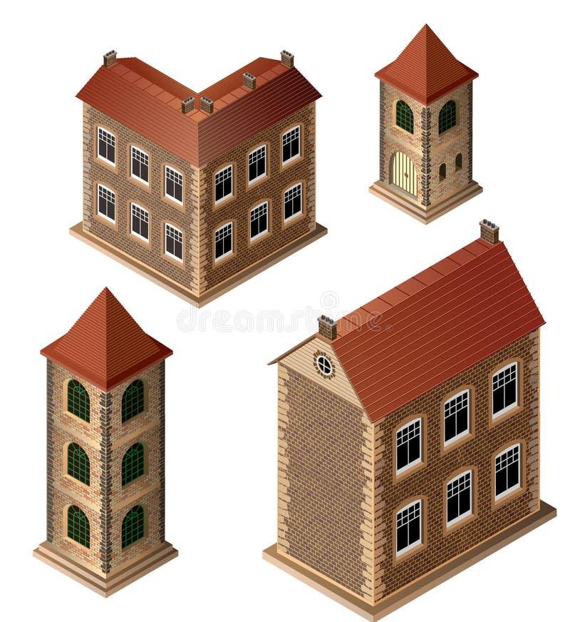 Starzy budynki ilustracja wektor