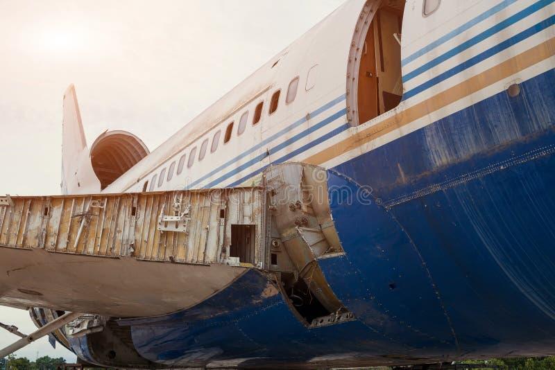 Starzy decommissioned samoloty i samolotów szczegóły w świstku spotykającym zdjęcie royalty free