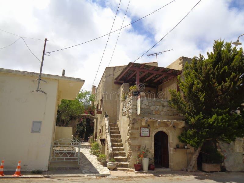 starzy domy w małej wiosce w Greece zdjęcie stock
