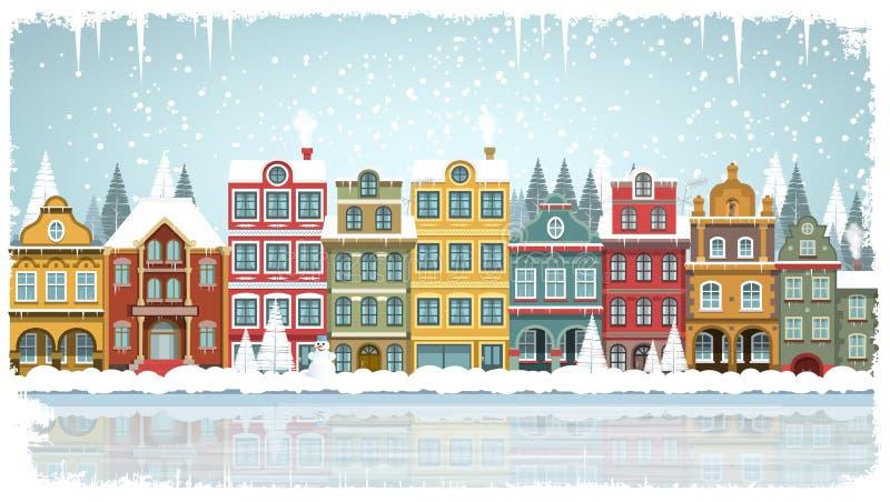 Starzy domy (zima) ilustracji