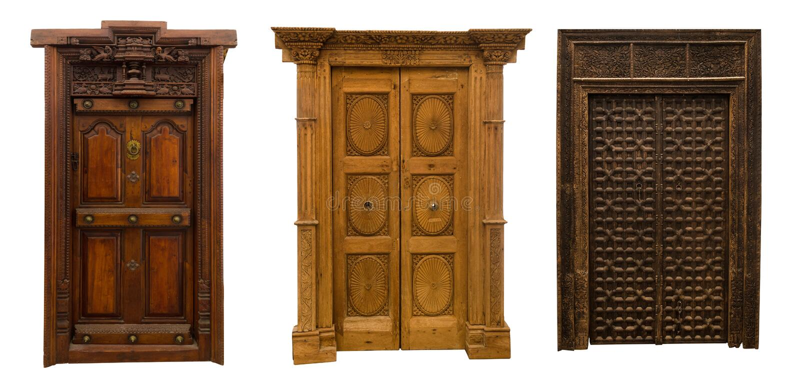 Starzy drzwi ustawiają 3 fotografia stock