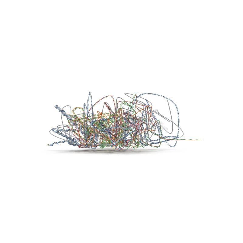 Starzy elektryczni kable podczas rozbiórki Czochrający dalej na bielu ilustracja 3 d royalty ilustracja