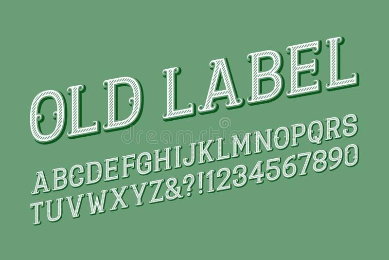 Starzy etykietka listy, liczby z kędzierzawymi serifs i Odosobniony angielski abecad?o ilustracji