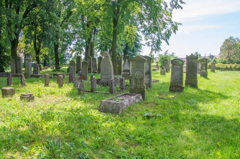 Starzy grób przy dużym Mennonite cmentarzem w północy Polska fotografia stock