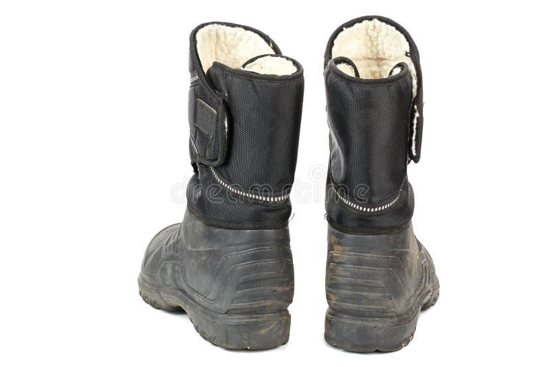 starzy gumowi mężczyzn buty wśrodku izolujący z futerkiem, obrazy royalty free