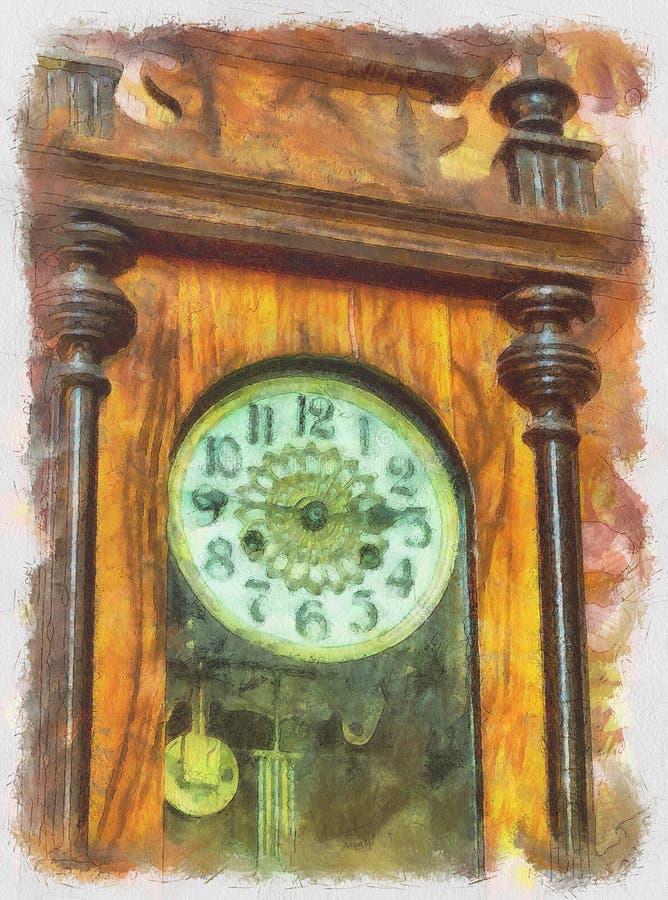 starzy kieszeniowi rocznika zegarka zegarki ilustracja wektor