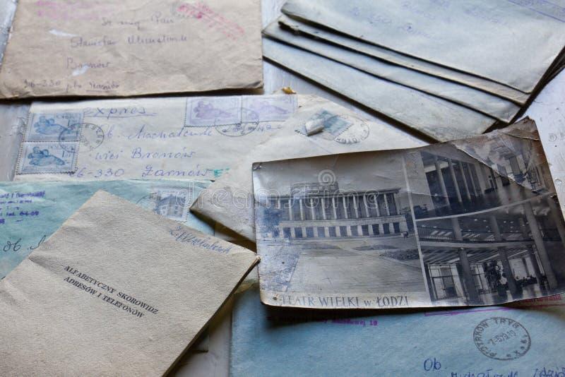 Starzy listy i notatnik fotografia stock